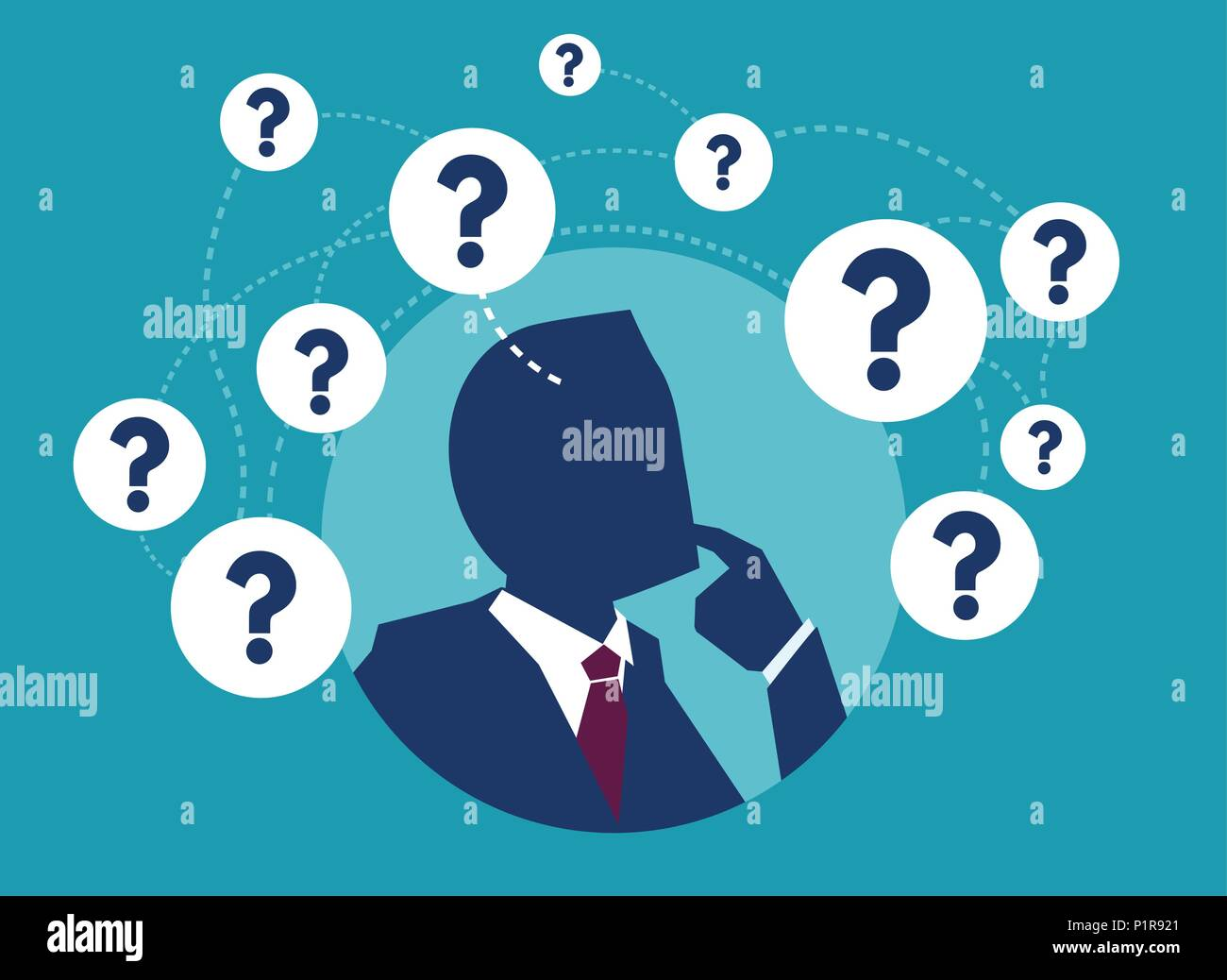 Vector picture of businessman having plenty of question thinking in doubts. - Stock Image