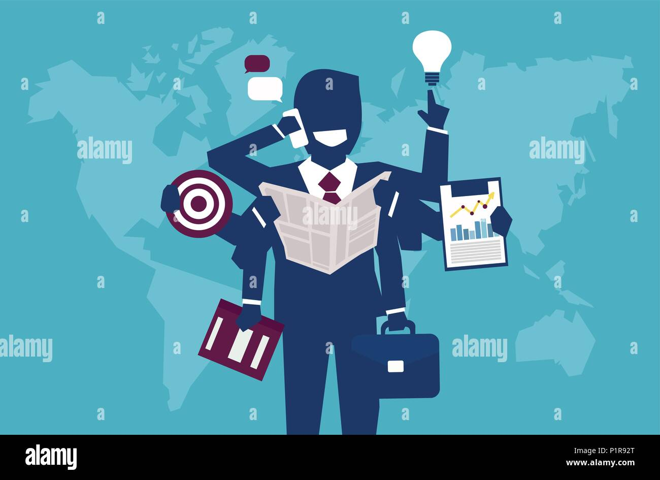 Vector illustration of businessman with plenty of hands managing to complete all goals. - Stock Image