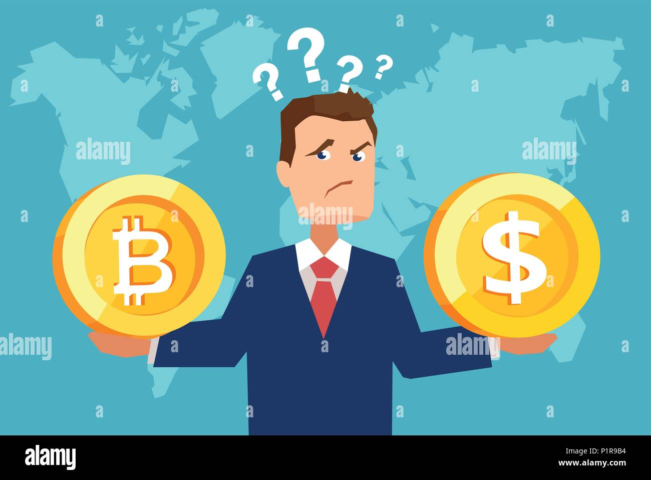 Flat style picture of businessman holding dollar coin and bitcoin looking confused with finances. - Stock Image