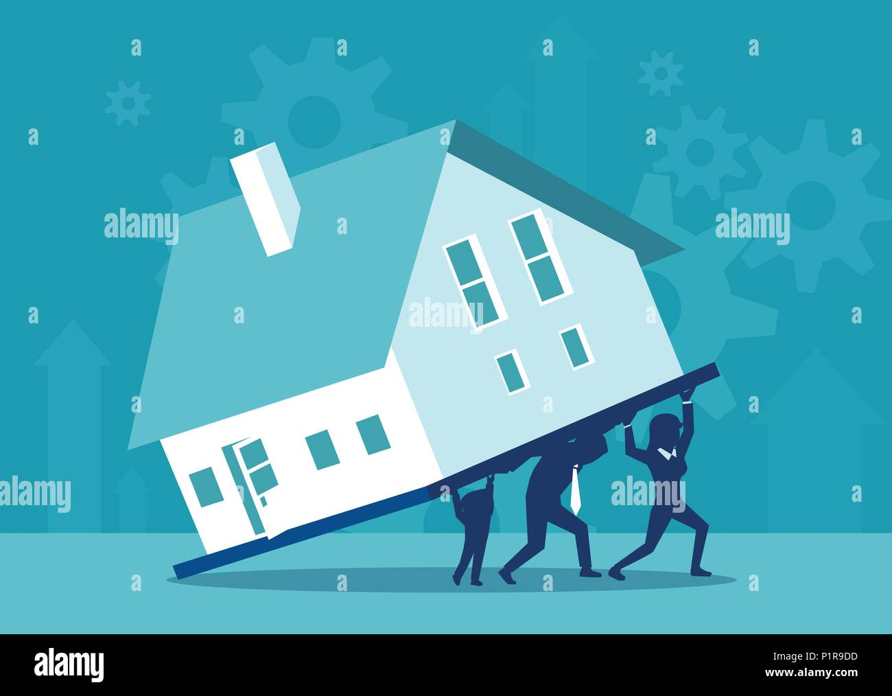 Concept vector illustration of parents and kid carrying burden of house on credit together. - Stock Image