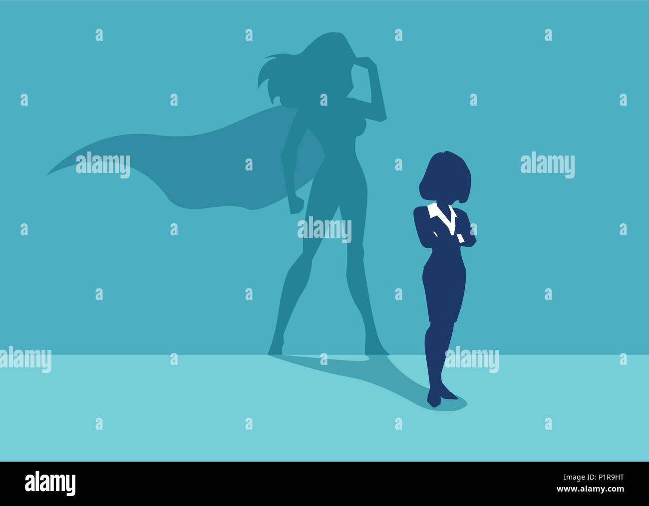 Vector of a strong business woman with a shadow imagining to be a super hero looking aspired. - Stock Vector