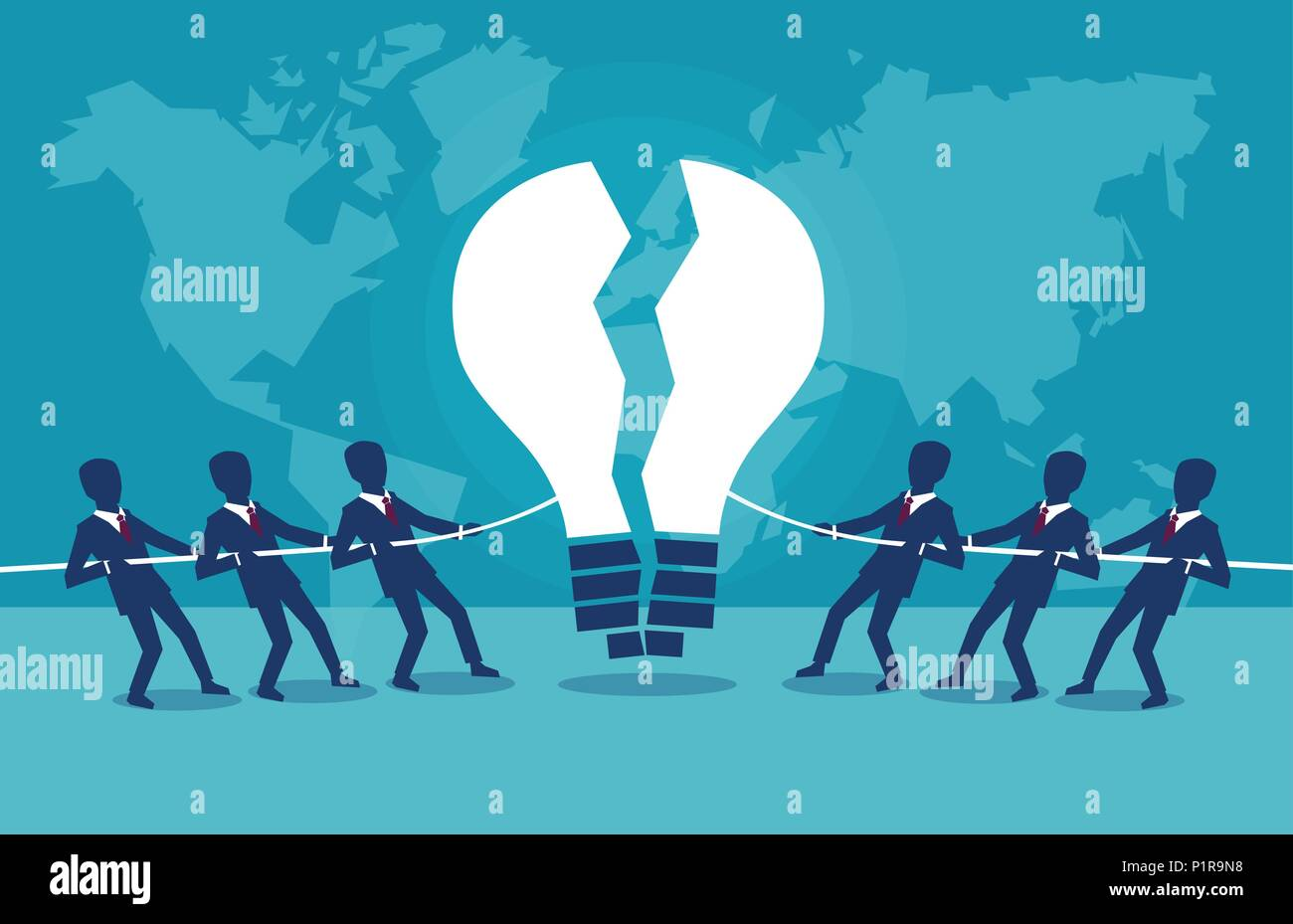 Vector concept illustration of rival business groups competing for intellectual idea. - Stock Image