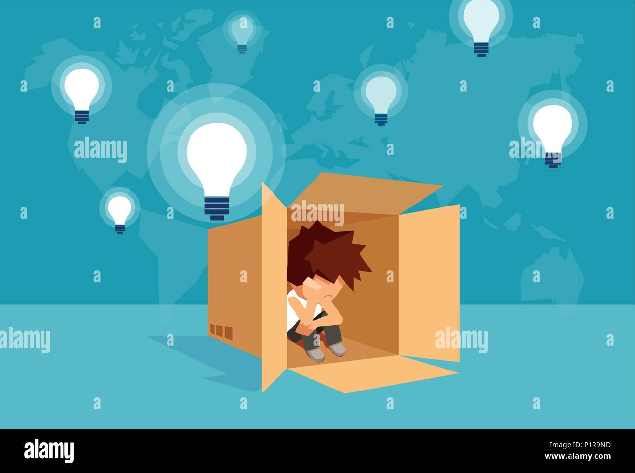 Concept vector illustration of kid sitting alone in box and thinking on problem. - Stock Image