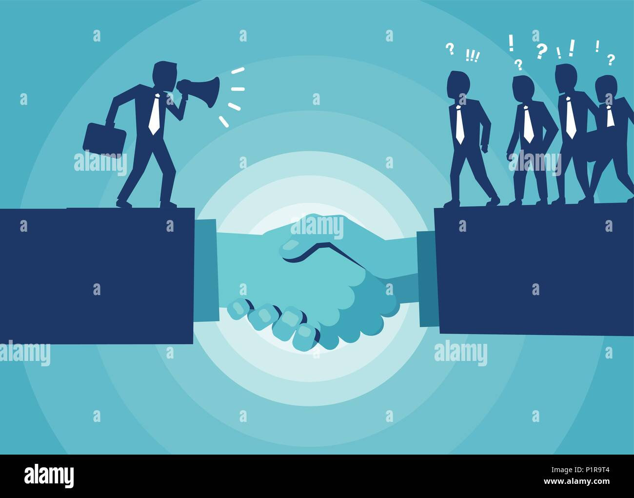 Vector of handshake and communication between politician and crowd coming to agreement Stock Vector