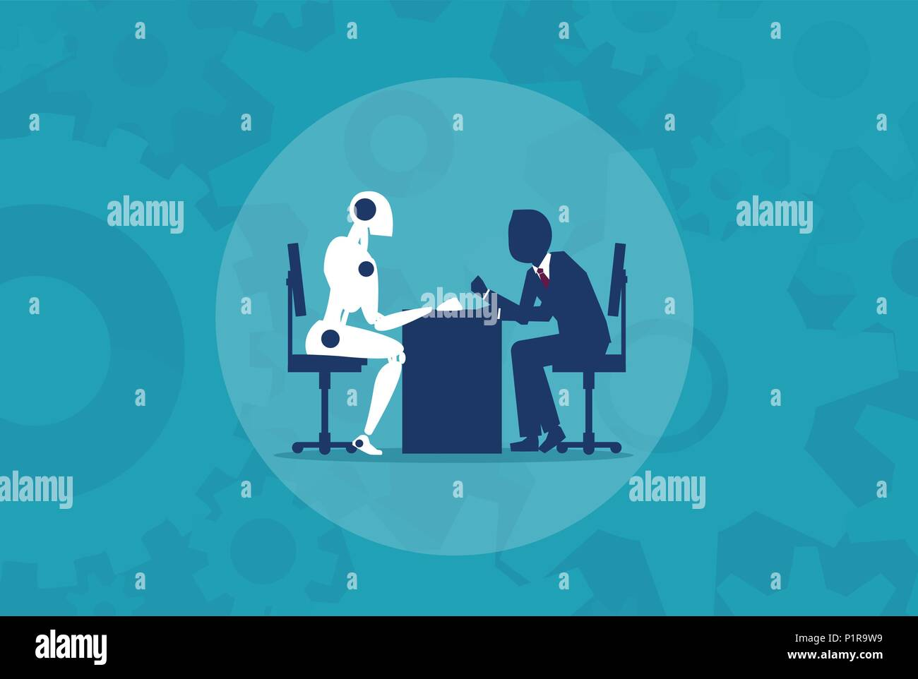 Humans vs Robots. Business illustration flat style vector - Stock Vector