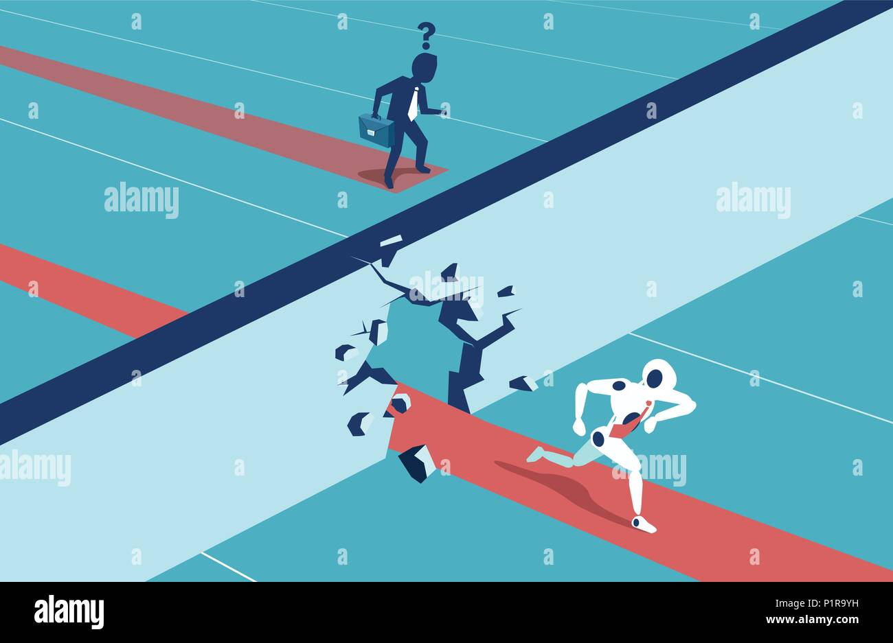 Humans vs Robots. Business competition. Illustration flat style vector - Stock Vector