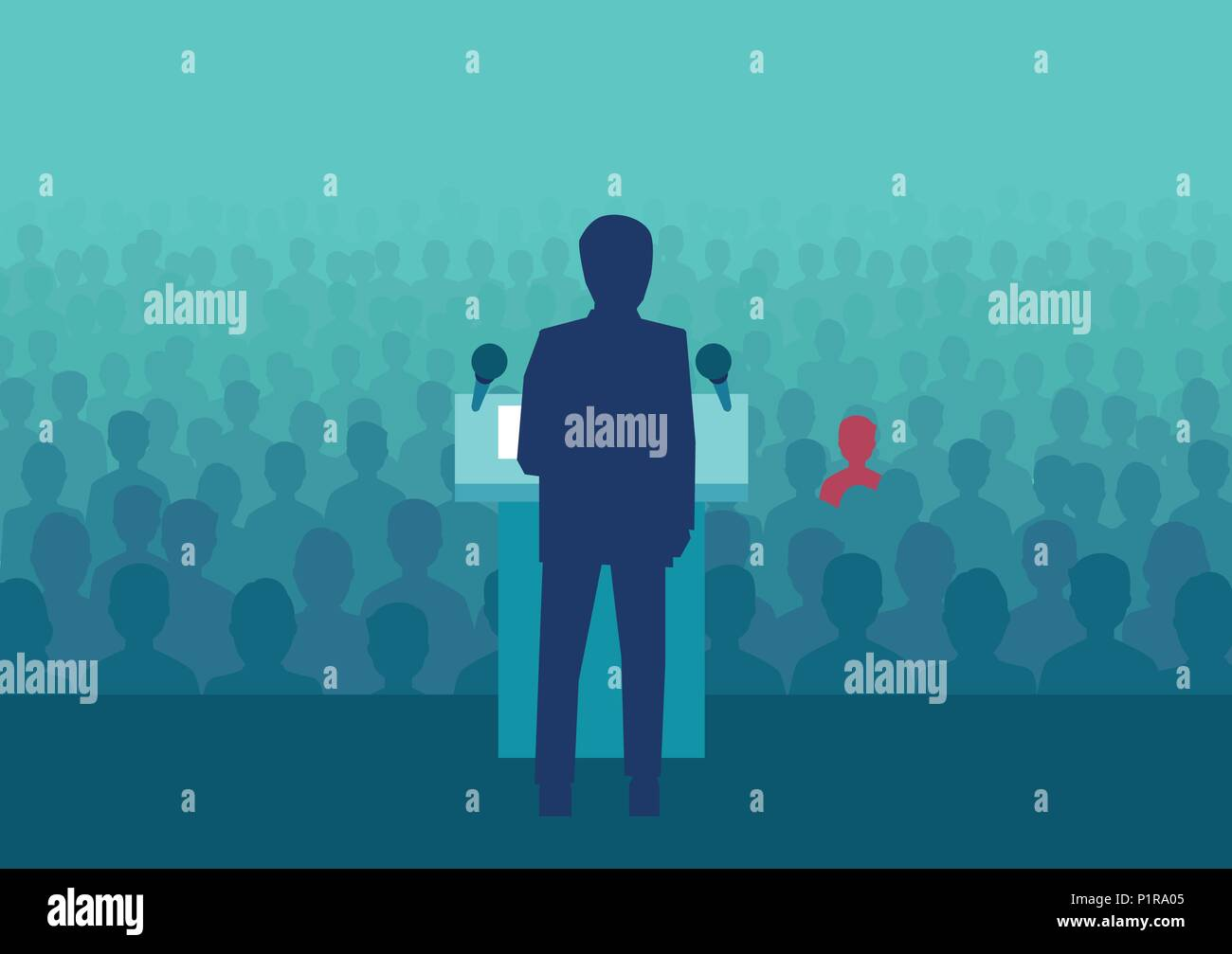 Vector design of political person meeting with crowd and making speech before election. - Stock Vector
