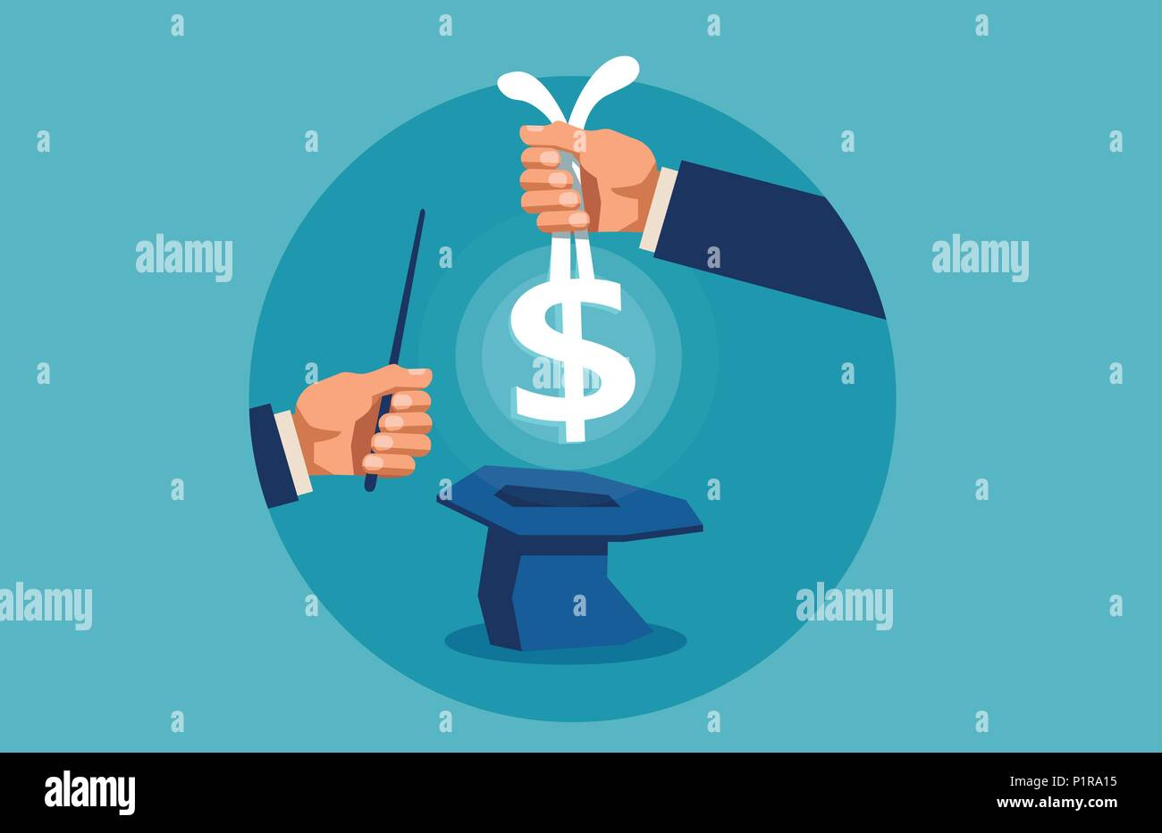 Concept of fast money. and financial manipulation. Hand pulls money out of a hat, with a magic wand - Stock Image