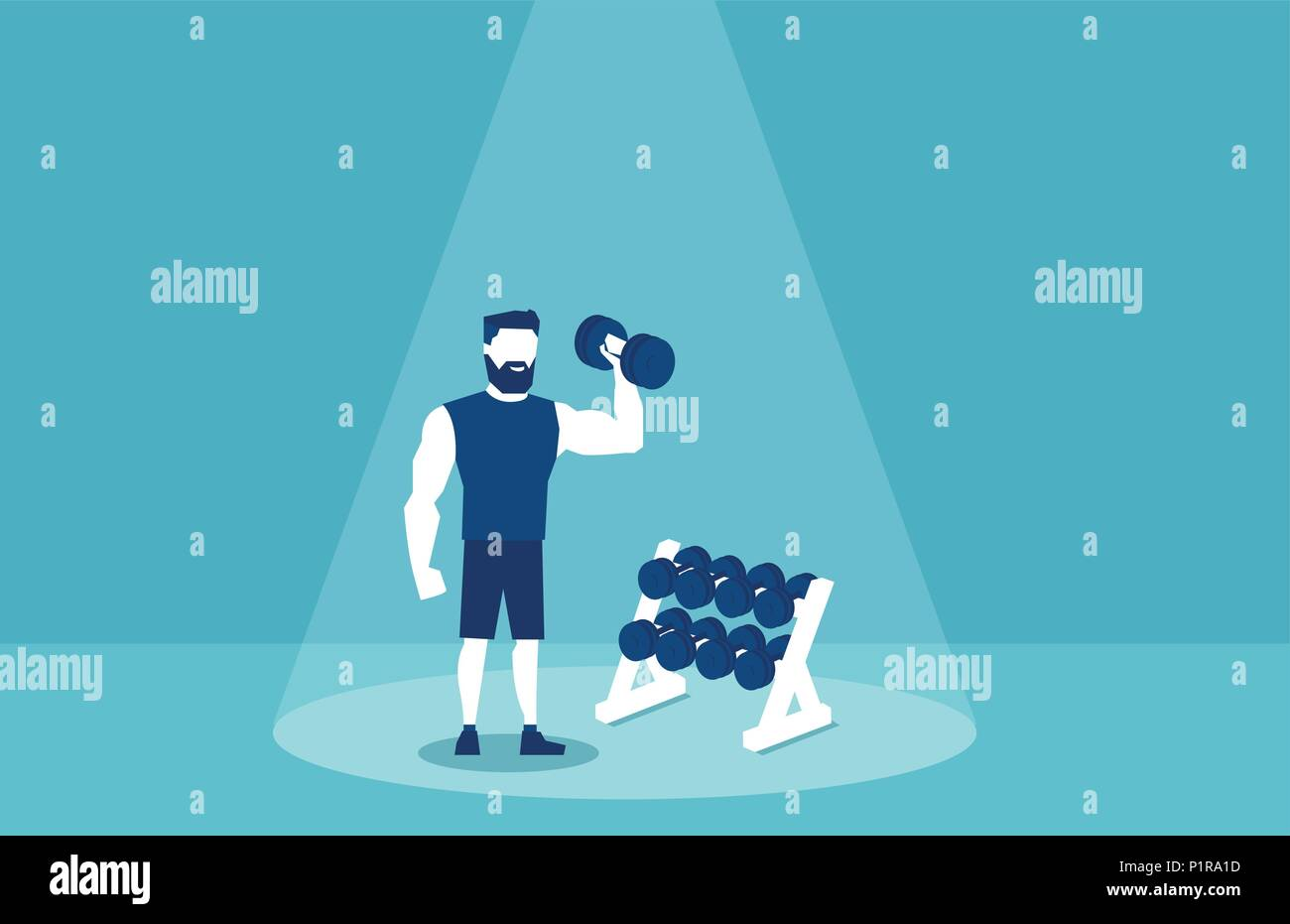 Vector picture of sportive man lifting dumbbells and working out in gym on blue background - Stock Vector