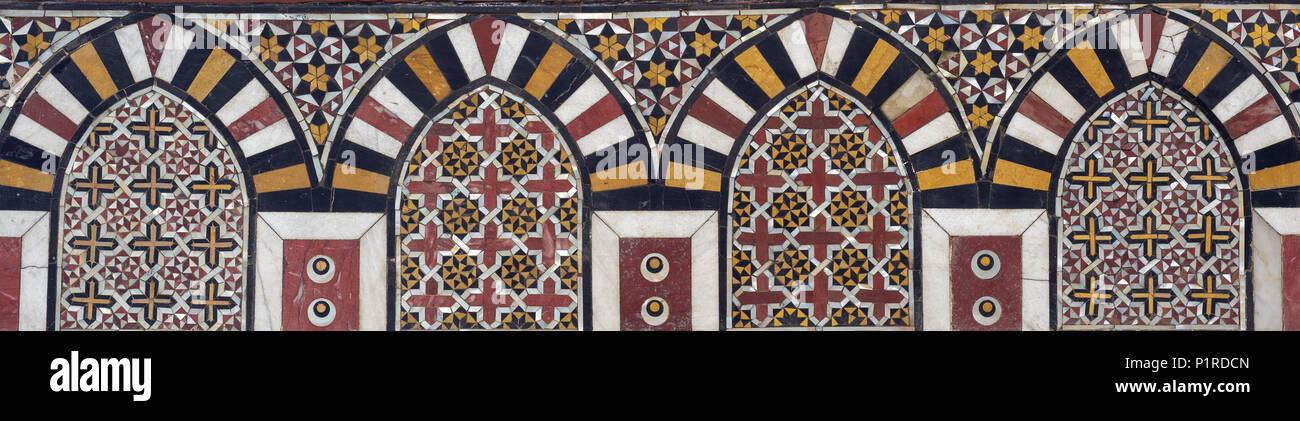 Mamluk era marble mosaic panel with geometric decorations, Al Ashraf Barsbay Mosque, City of the dead, Cairo, Egypt - Stock Image