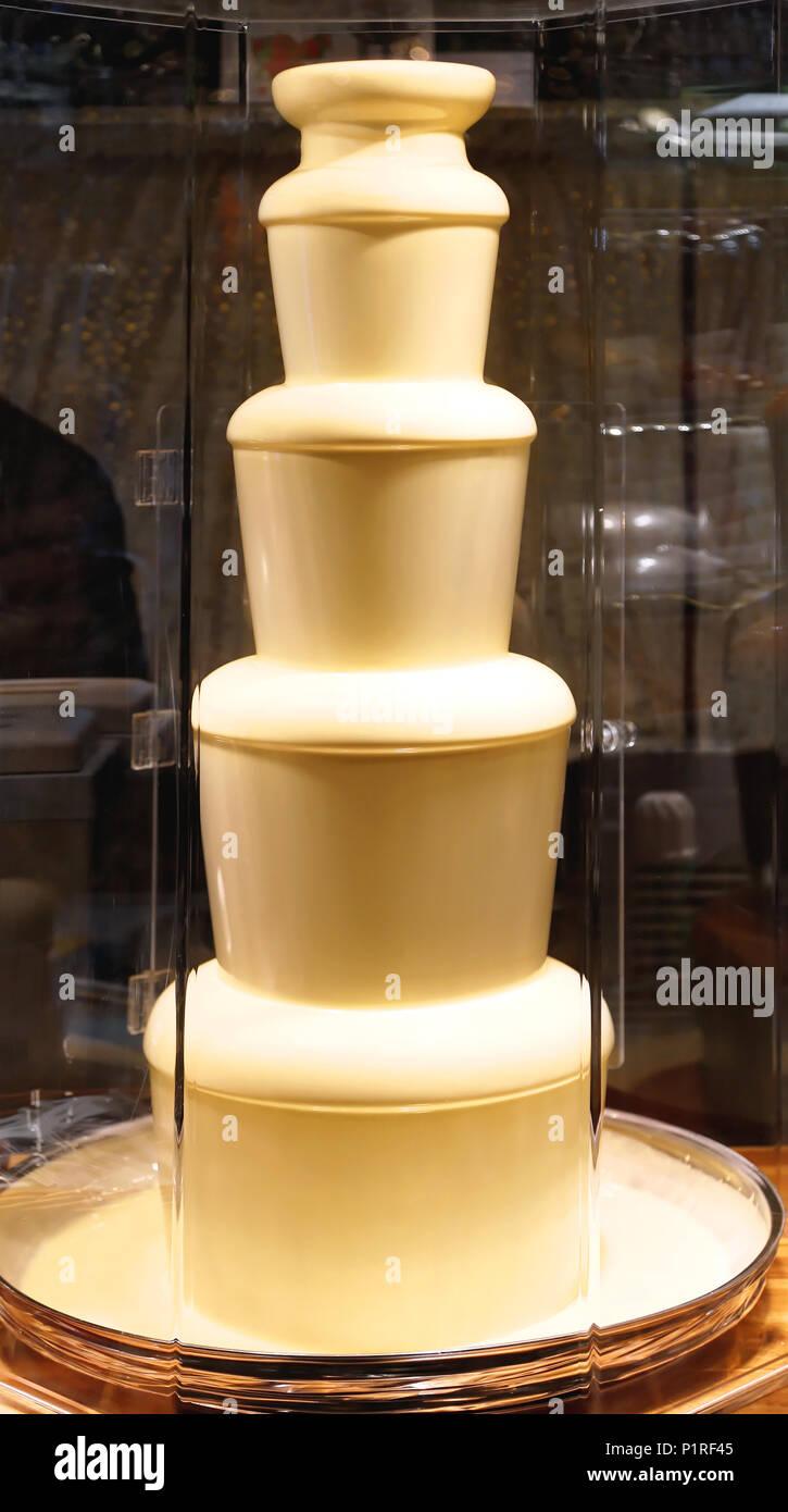White Chocolate Fountain For Fondue Dessert Stock Photo: 207655845 ...