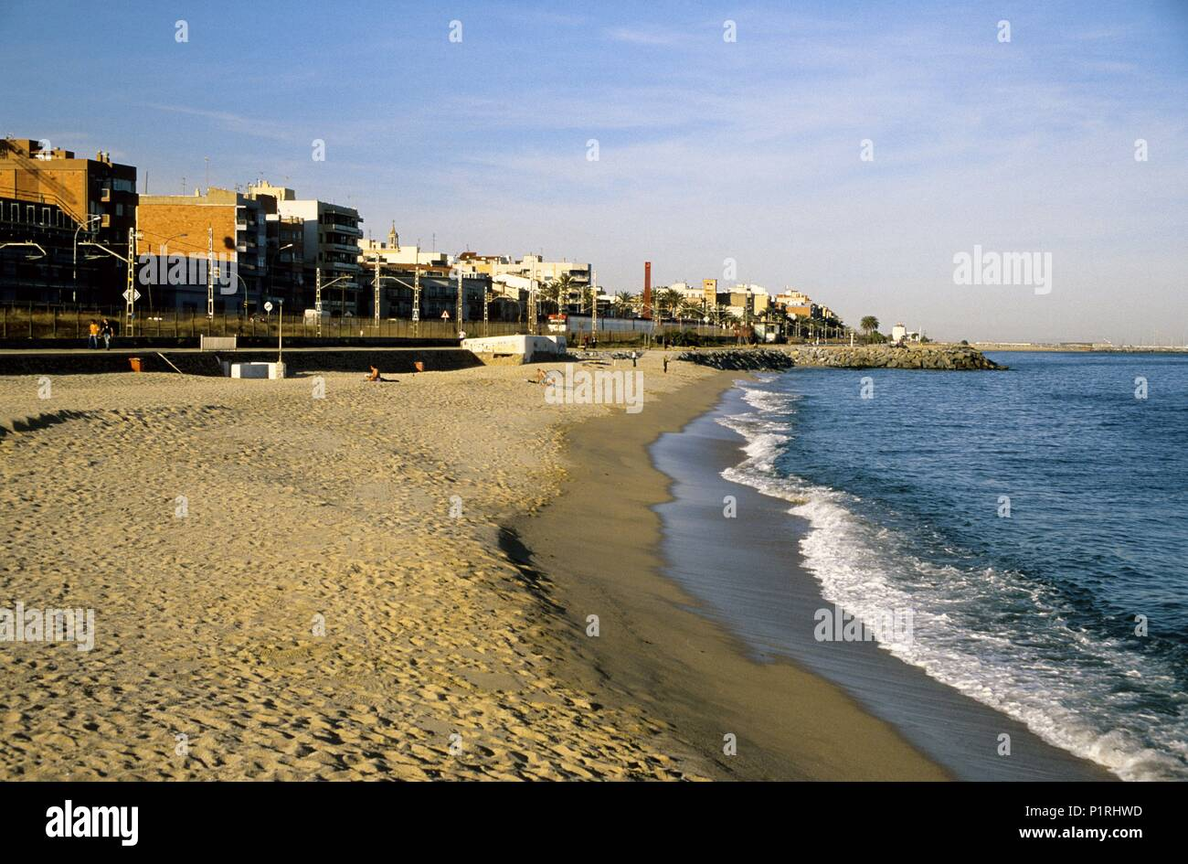Premià De Mar Playa Platja Del Pla De L Os Stock Photo Alamy