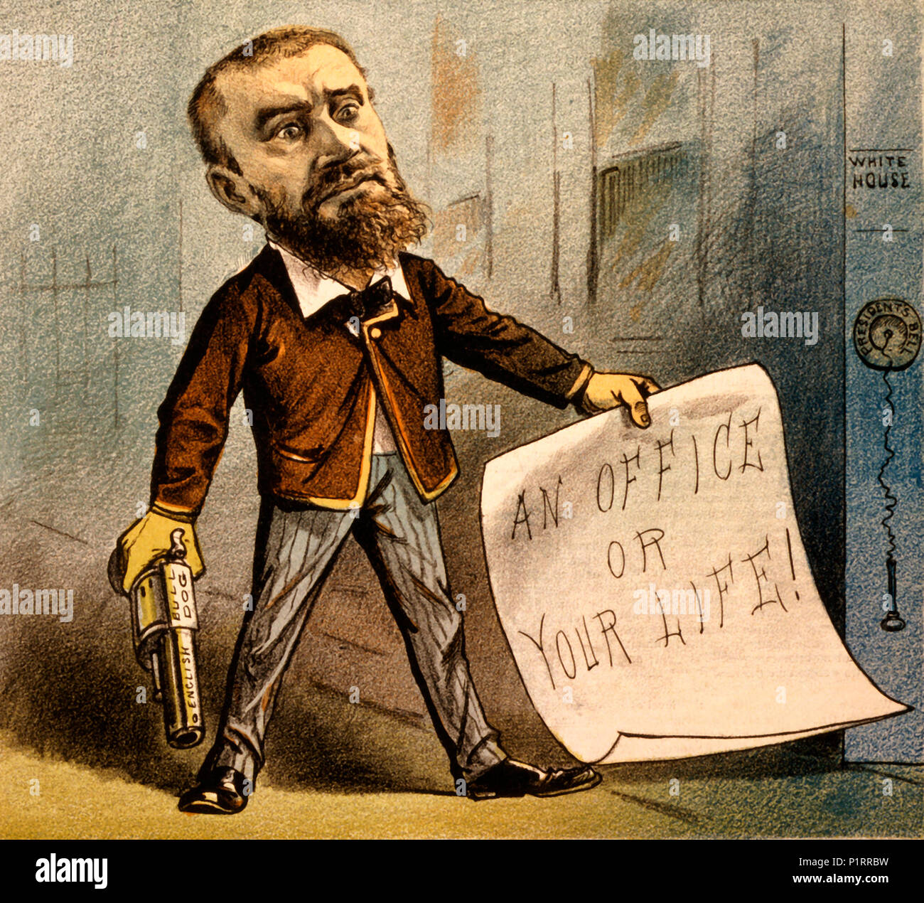 Political cartoon created for the cover of Puck Magazine on July 13, 1881. The cartoon shows Charles J. Guiteau with a gun, and a note that reads 'AN OFFICE OR YOUR LIFE!'. The caption reads: 'A Model Office Seeker'. It is accompanied by a quote: 'I am a lawyer, a theologian, and a politician' - Charles J. Guiteau. Guiteau believed himself to be largely responsible for Garfield's election to president, and demanded an ambassadorship in return. He assassinated James Garfield when he did not get it - Stock Image