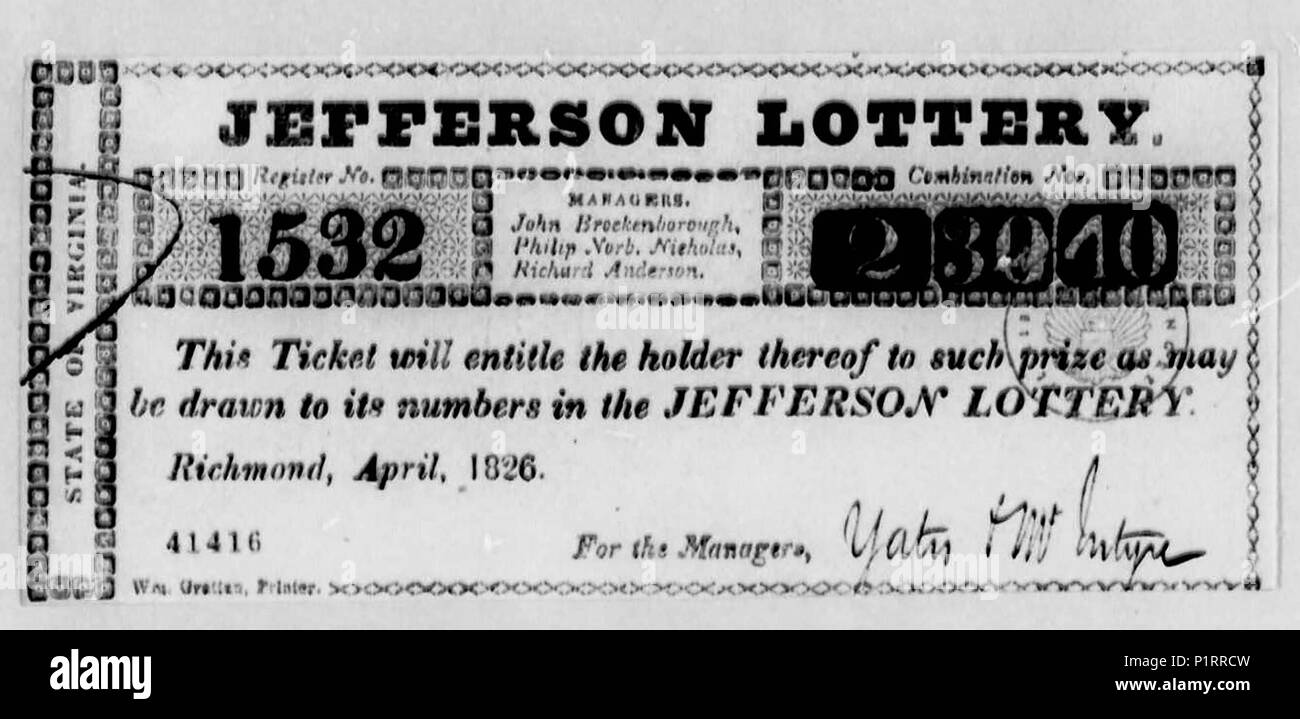 Ticket for Jefferson Lottery - Originally sold as a lottery with Monticello as the Grand Prize and enough money raised to satisfy Thomas Jefferson's debts - Stock Image