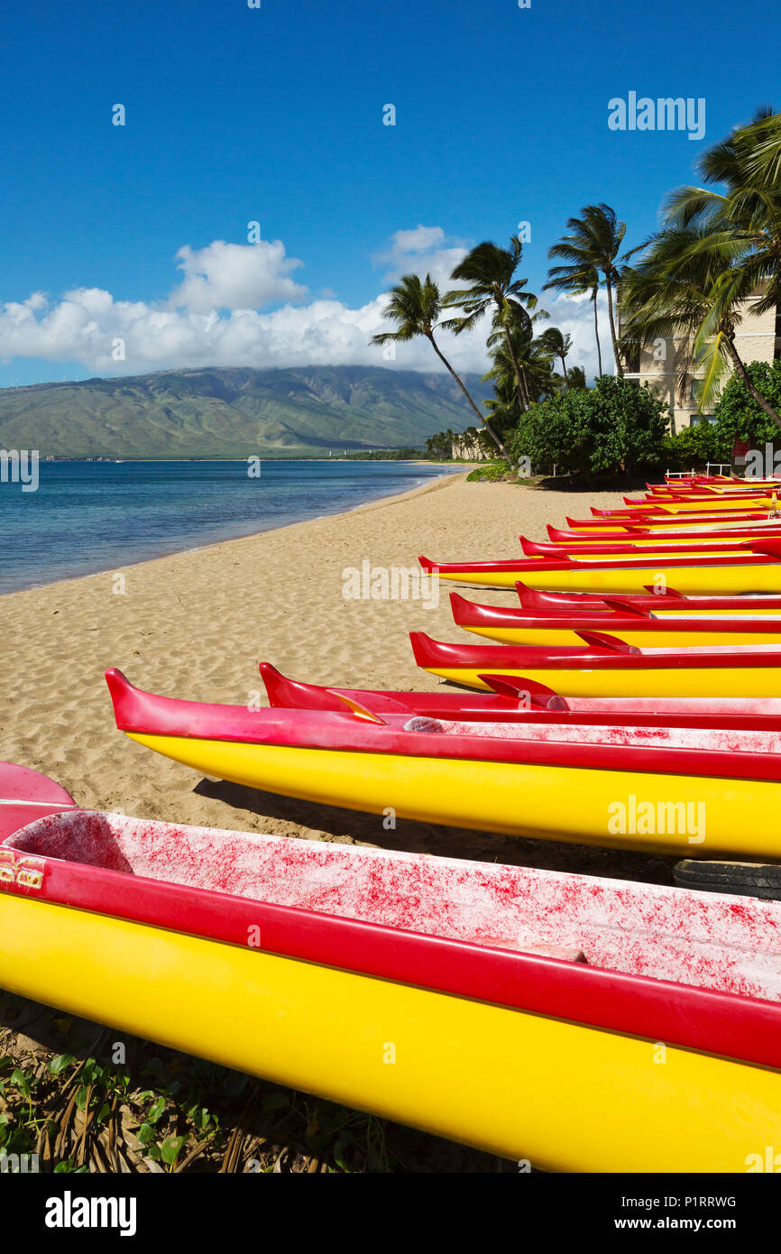 Outrigger canoes on the north end of Kihei; Kihei, Maui, Hawaii, United States of America - Stock Image