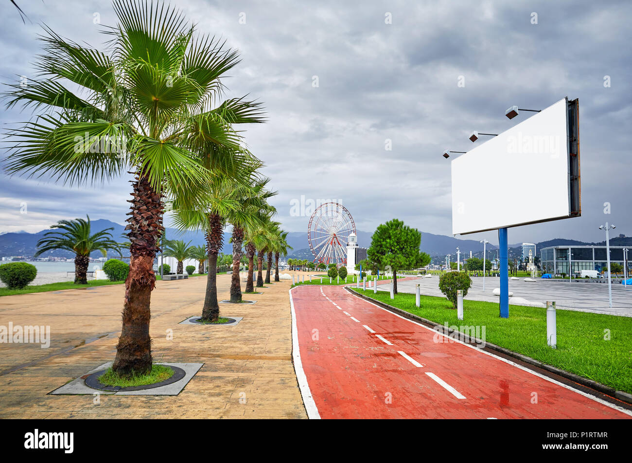 Big blank banner with space for text at bicycle road near Ferris in Batumi, Georgia - Stock Image