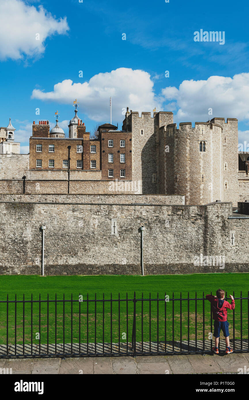 Tower of London, a historic castle and popular tourist attraction located on the north bank of the River Thames in central London, England Stock Photo