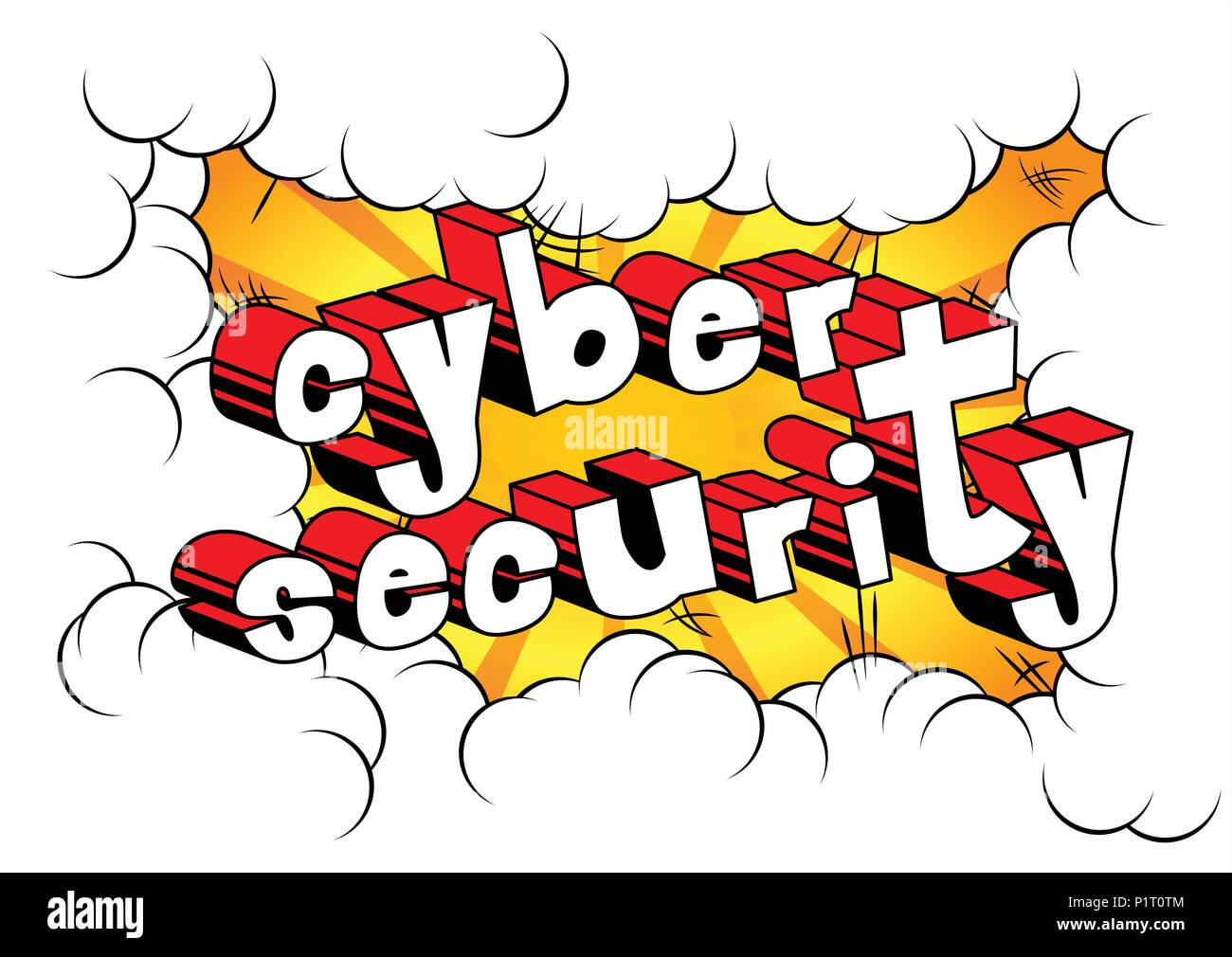 Cyber Security - Comic book style word on abstract background. Stock Vector