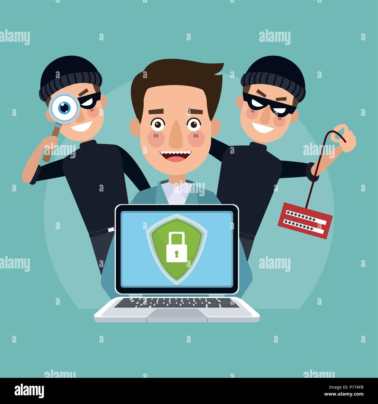 Hacker and security system - Stock Vector