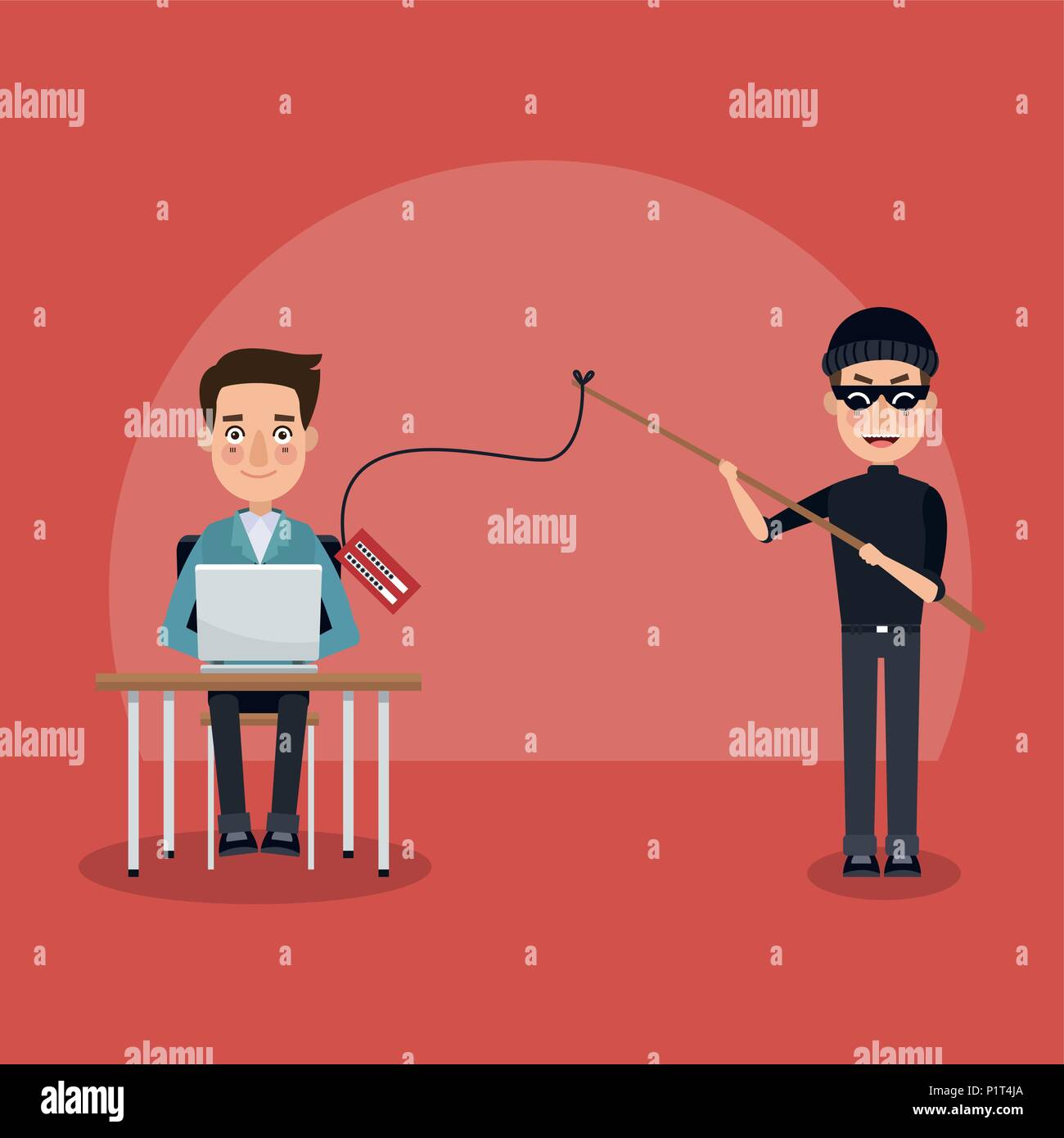 Hacker and security system Stock Vector