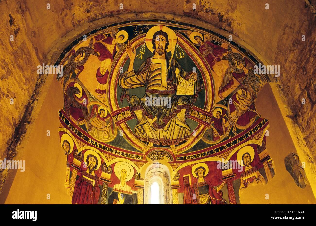 Alta Ribagorça: Taüll, Santa María church; medieval / romanesque pintures of the apse (Alta Ribagorça). - Stock Image
