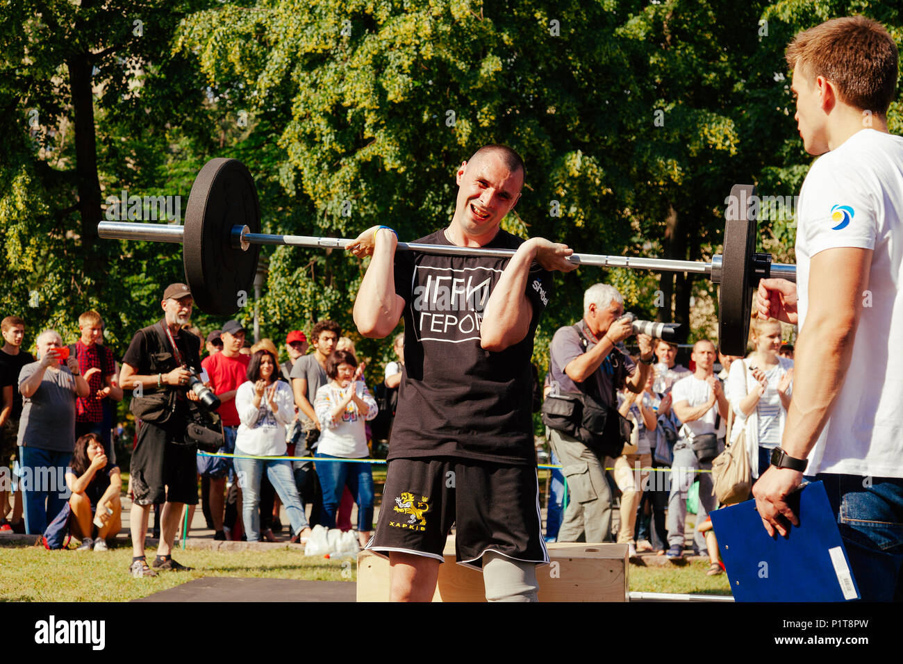 """under the brand name """"games for heroes"""" - the stage of the sports crossfit of all Ukrainian competitions for veterans of the war in Kharkov on June 9, Stock Photo"""