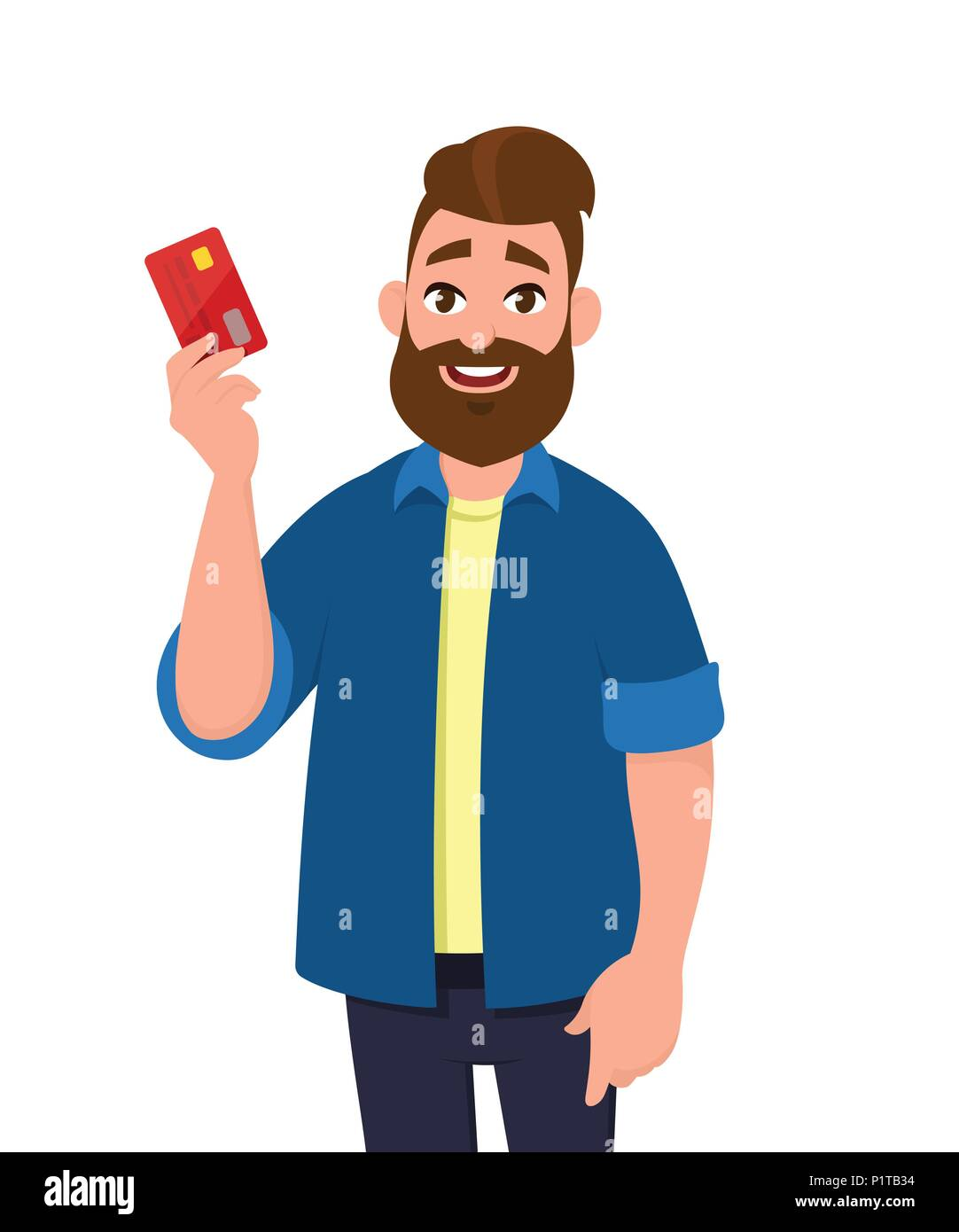 Young man is holding credit/ debit card.  Man is showing banking card. - Stock Vector