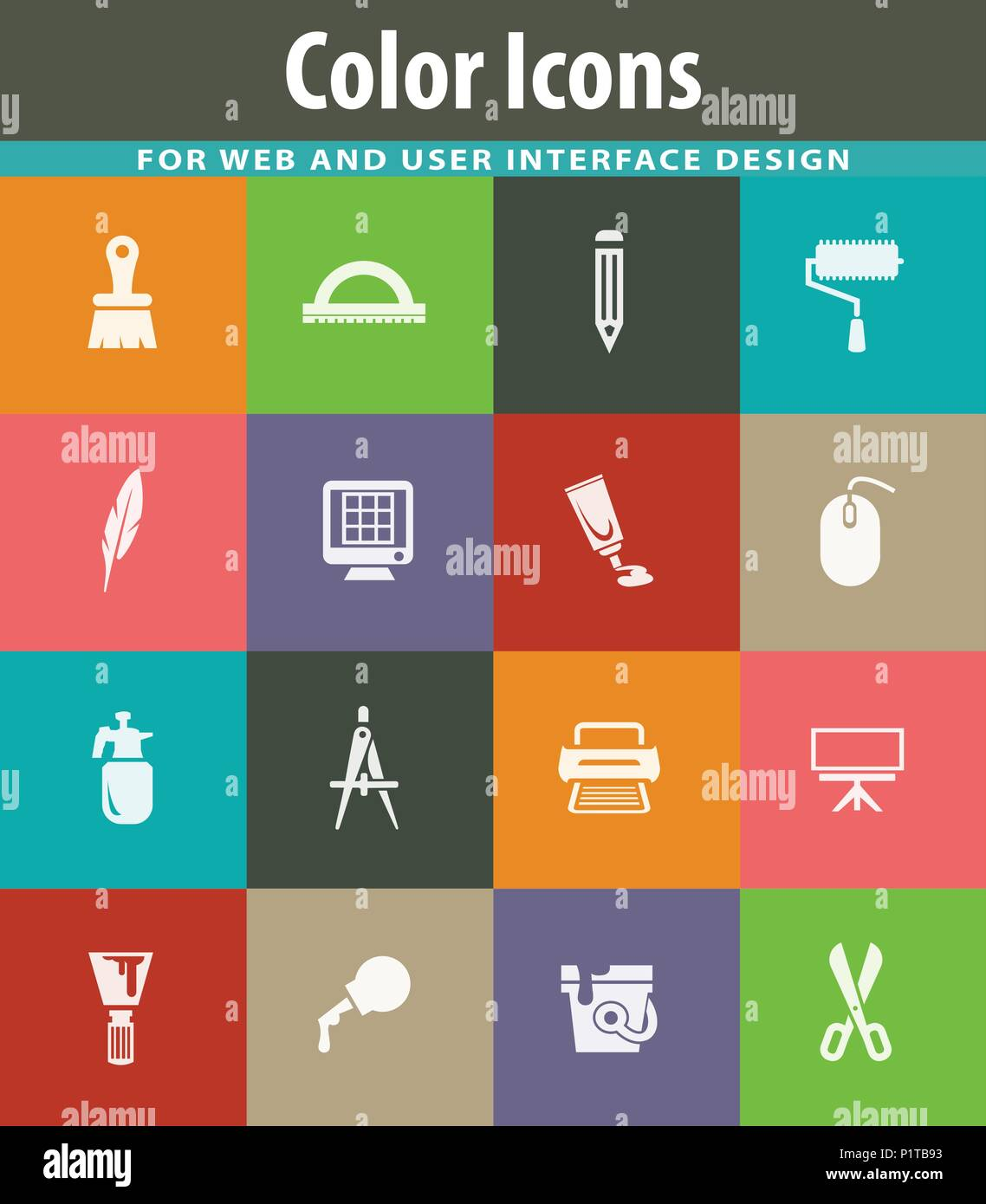 Art Tools Easy Flat Web Icons For User Interface Design Stock Vector Image Art Alamy