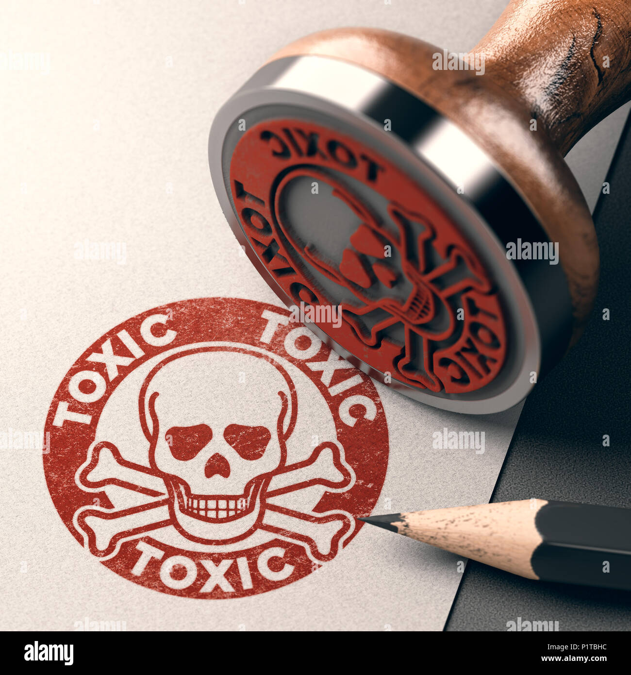 3D illustration of a rubber stamp with skull, bones and the text toxic stamped on paper background - Stock Image