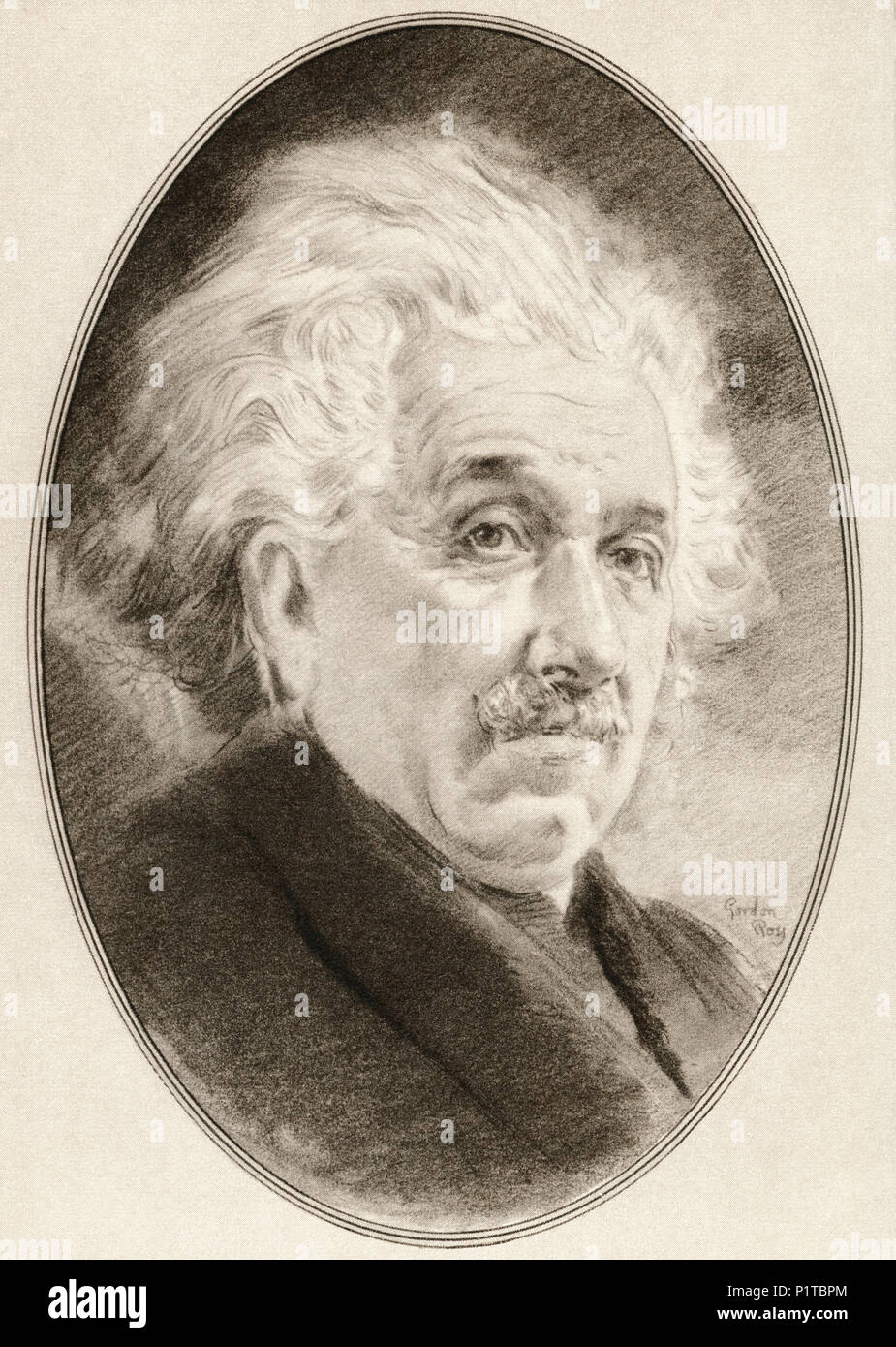 Albert Einstein, 1879 – 1955.  German-born theoretical physicist who developed the theory of relativity.  Illustration by Gordon Ross, American artist and illustrator (1873-1946), from Living Biographies of Great Scientists. - Stock Image