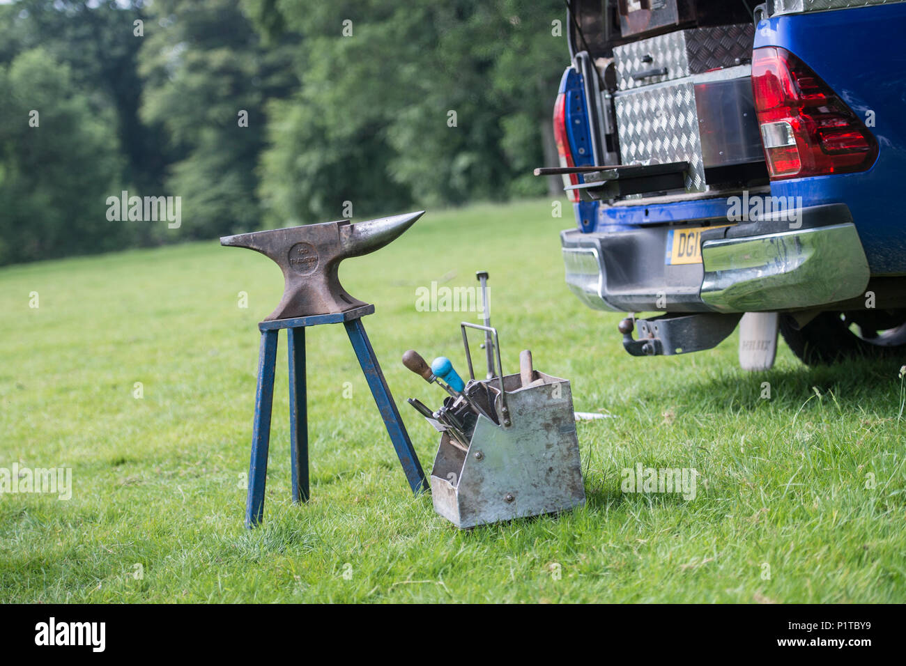 farriers tools and anvil - Stock Image