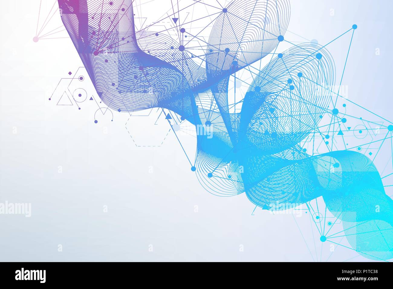 Geometric abstract background with connected line and dots. Structure molecule and communication. Scientific concept for your design. Medical, technology, science background. Vector illustration. - Stock Image