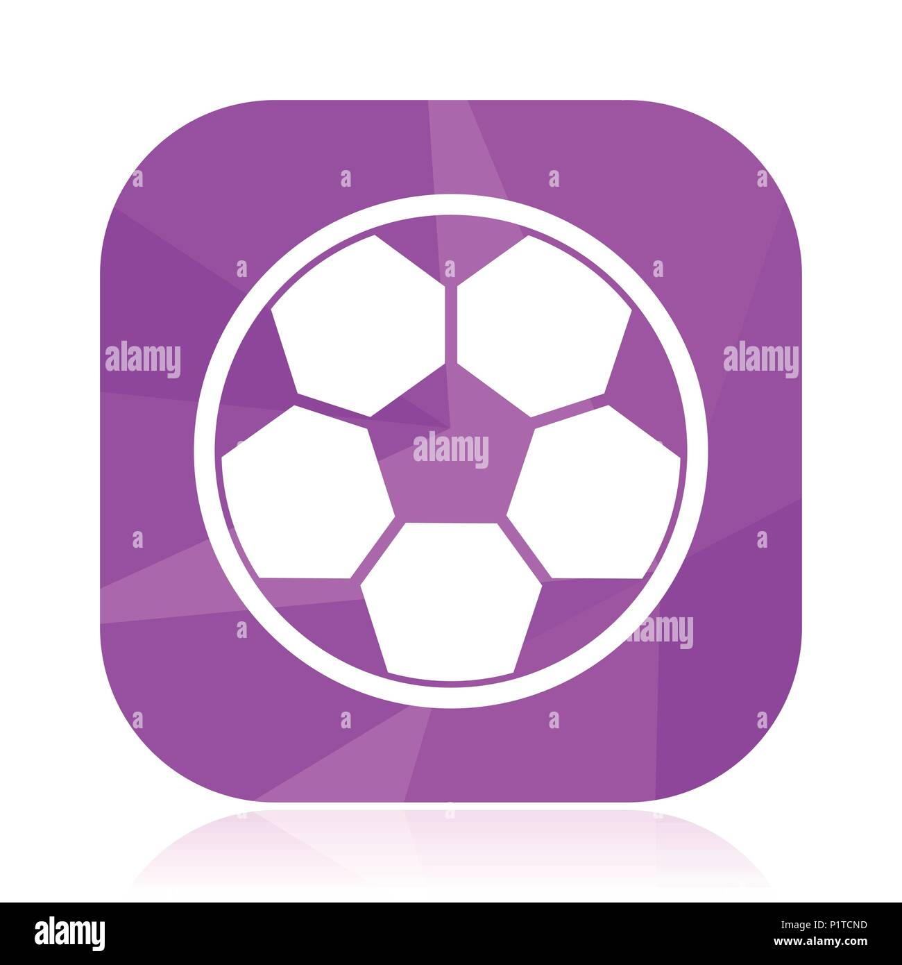 Soccer flat vector icon. Football violet web button. Ball internet square sign. Sport modern design symbol in eps 10. - Stock Vector
