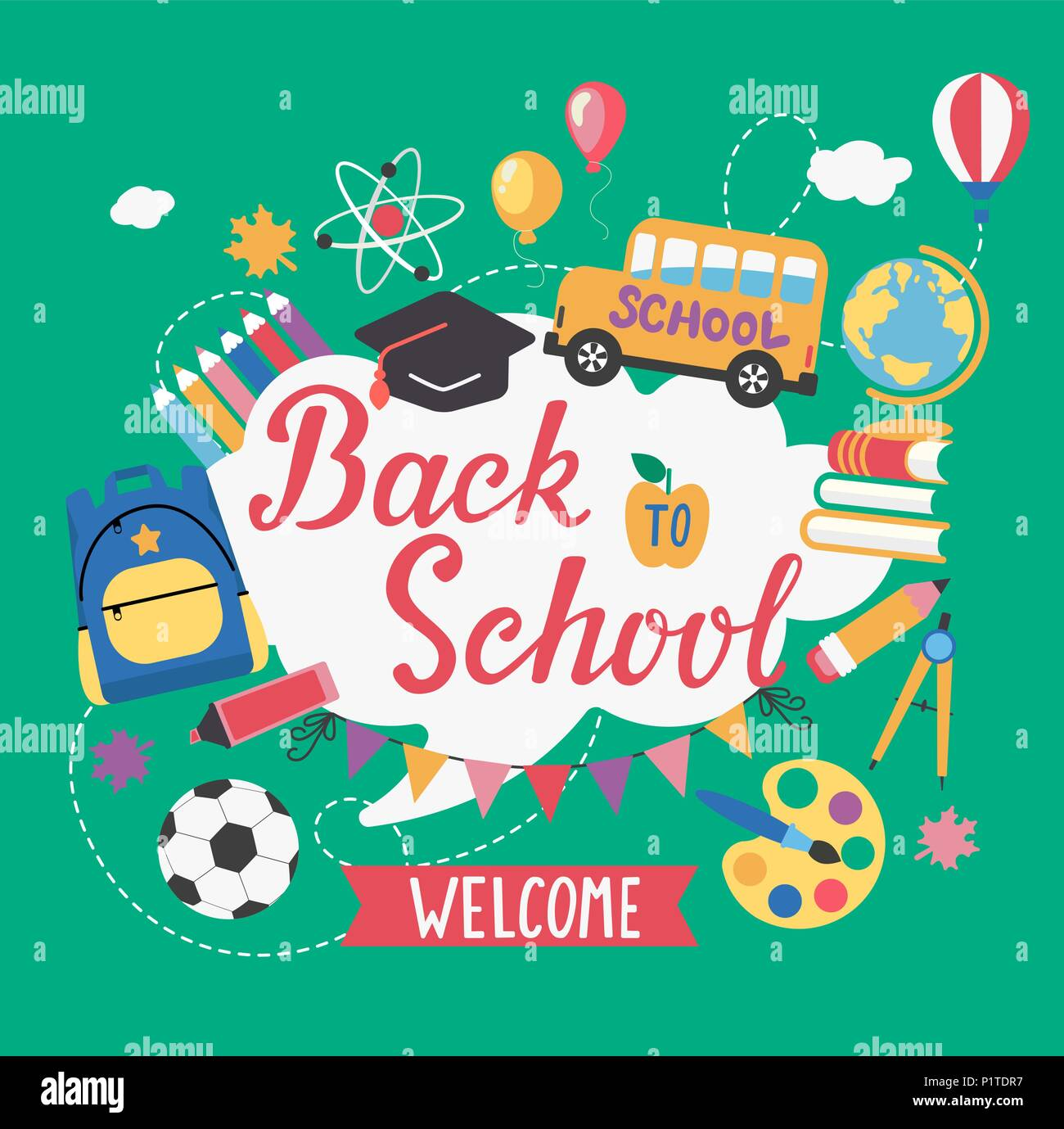 Banner welcome Back To School With different Flat Icons. Education Concept.Vector Illustration. - Stock Image
