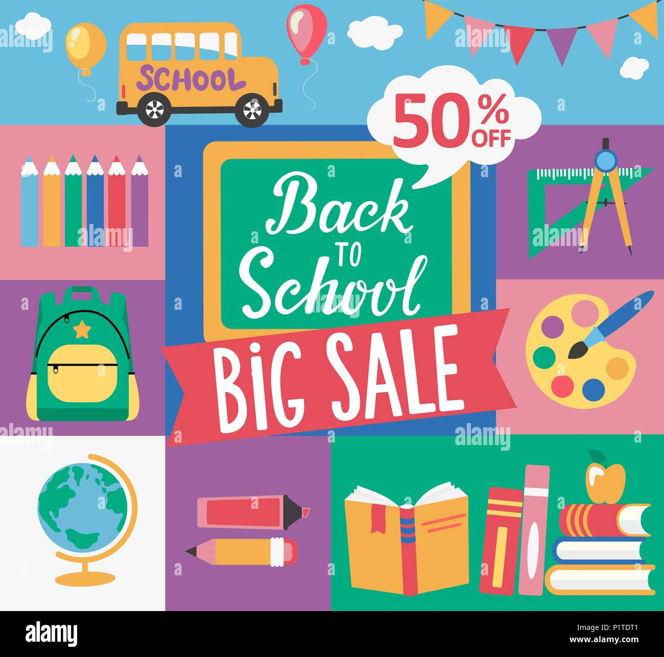 Chalkboard with hand drawn lettering Back to school, for big sale