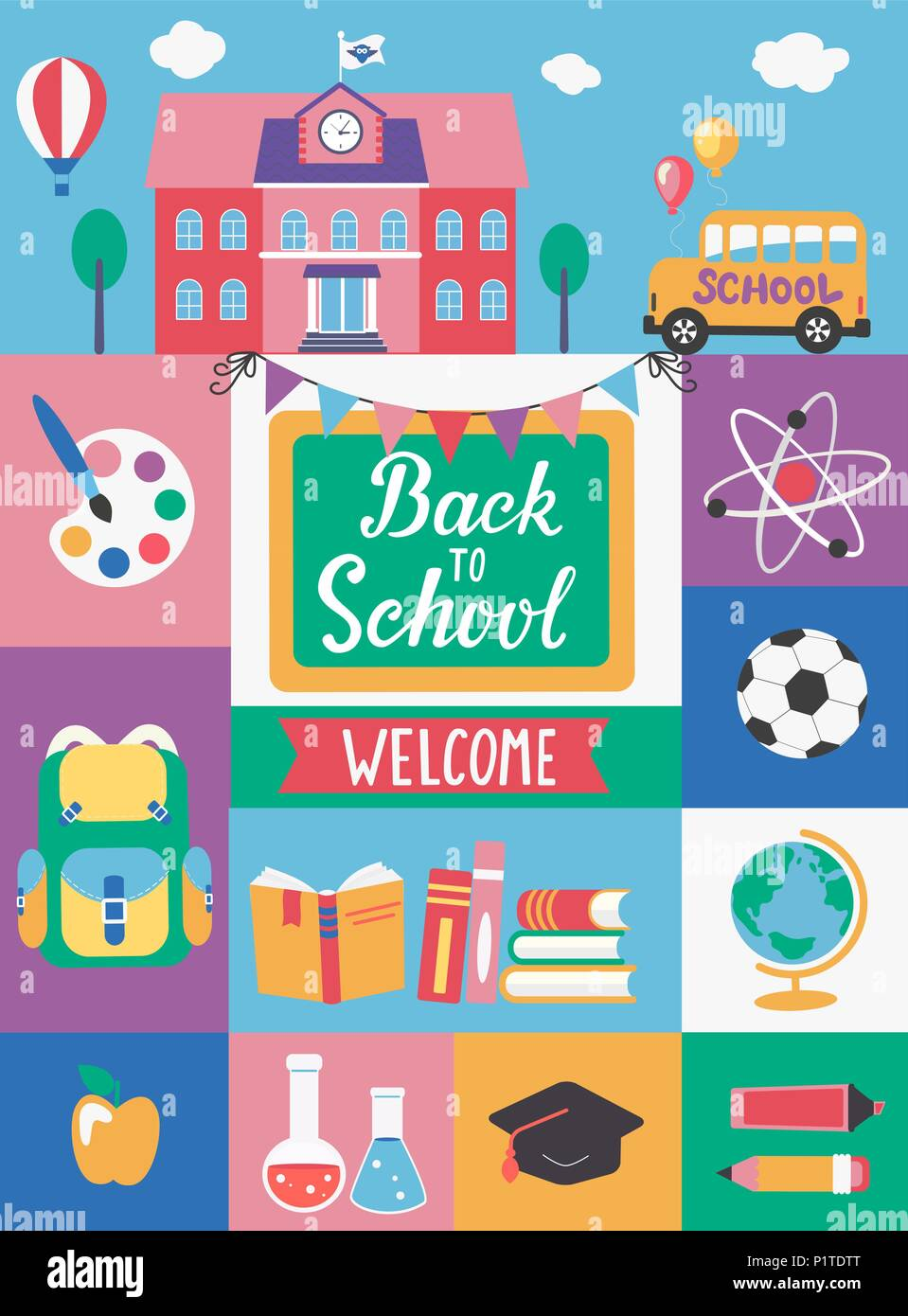 welcome back to school with different flat icons education concept