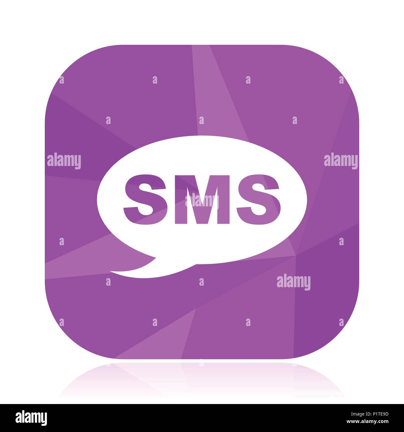 Sms Flat Vector Icon Message Violet Web Button Post Internet