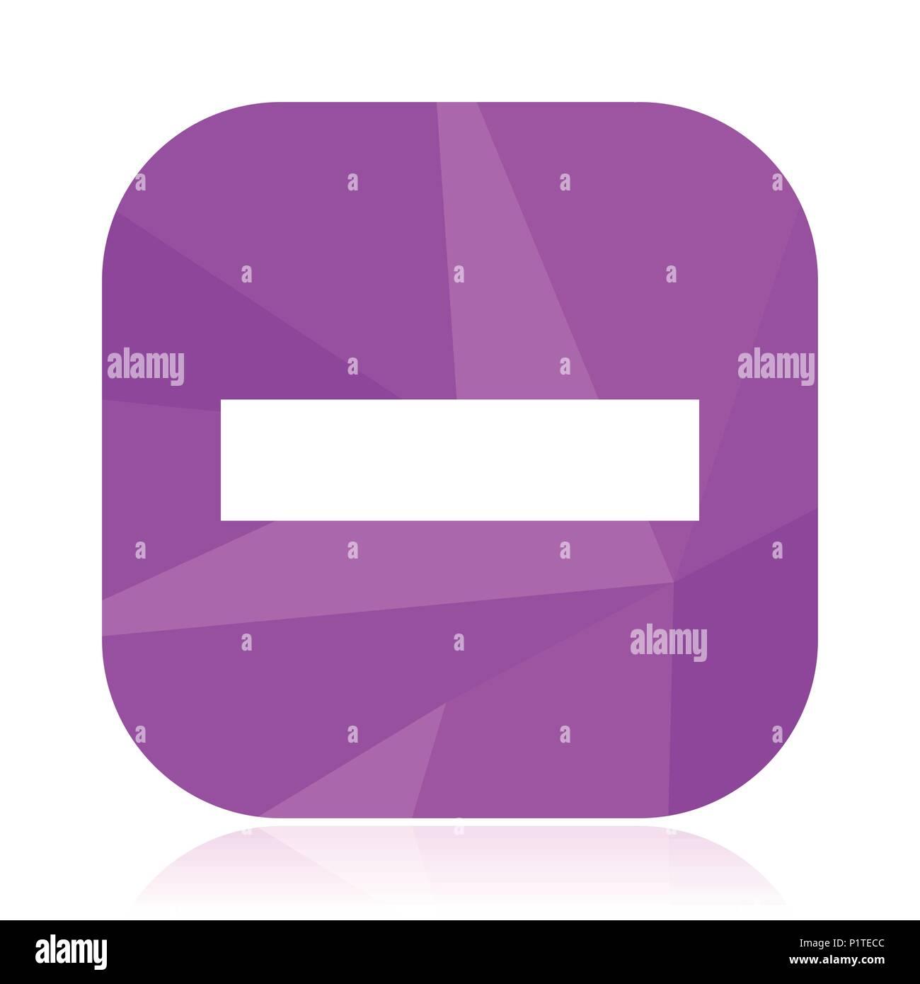 Minus Flat Vector Icon Line Violet Web Button Math Internet Square