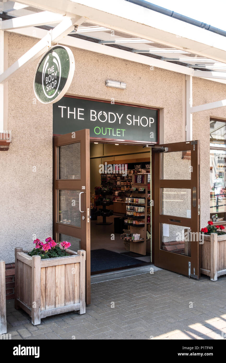Exterior and main entrance with open doors of The Body Shop outlet shop at Gretna Gateway Outlet Village a \u0027strip mall\u0027 in the very south of Scotland & Exterior and main entrance with open doors of The Body Shop outlet ...