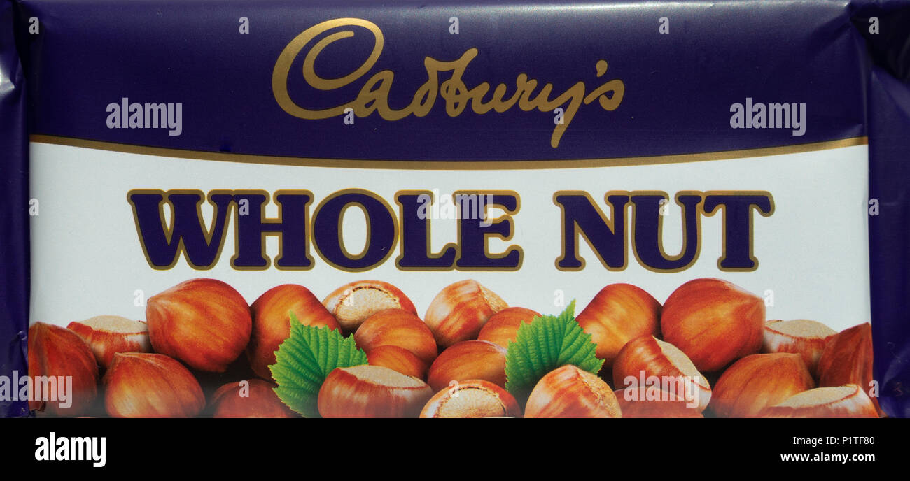 A bar of Cadbury's Whole Nut chocolate, in a retro-styled wrapper. - Stock Image