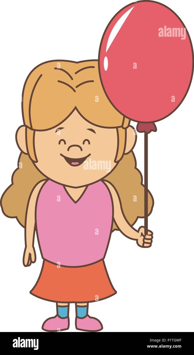 d6367f010ad Girl Balloon Happy Cartoon Child Stock Vector Images - Alamy