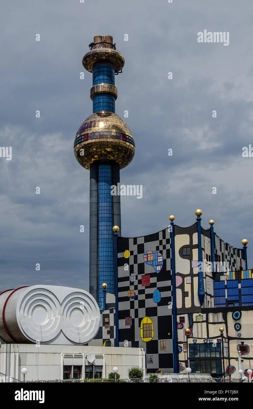 The Vienna/Spittelau waste incineration plant, designed by Friedensreich Hundertwasser, was completely revamped by 2015. - Stock Image