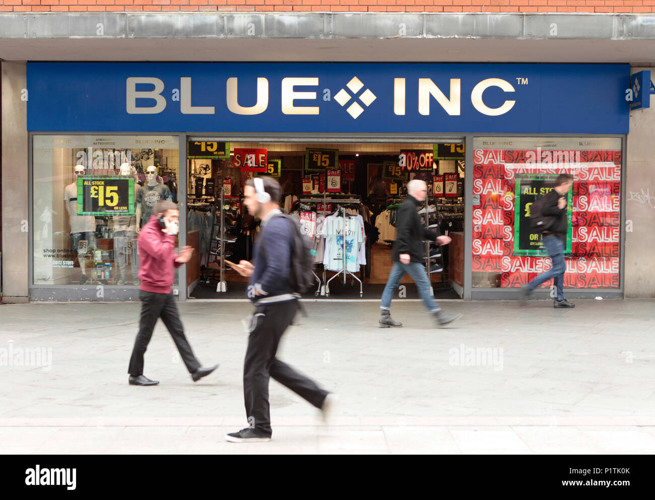 exterior view of BLUE INC, fashion retail outlet. Shops and people shopping in Harrow, middlesex, London, UK - Stock Image