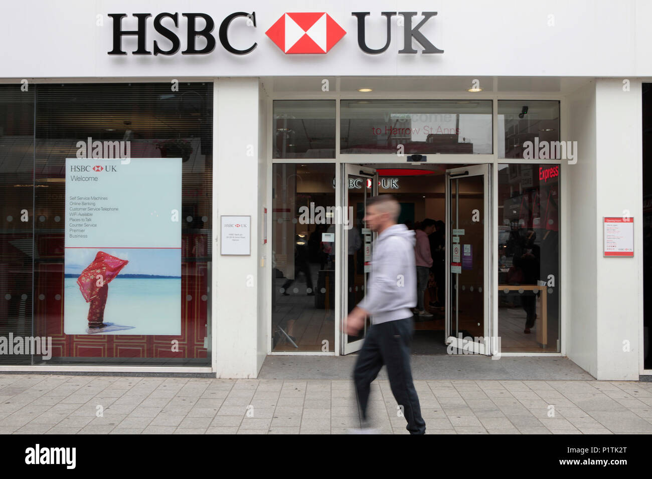 HSBC BANK. Shops and people shopping in Harrow, middlesex, London, UK - Stock Image