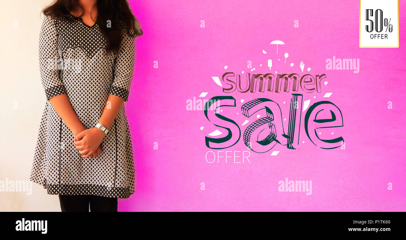 portrait of young girl posing on summer sale promotional banner