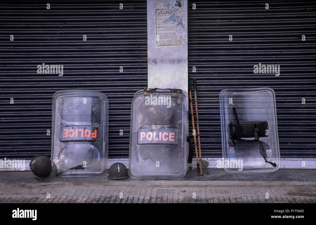 Srinagar, India, deposited protective equipment of the Indian Paramilita - Stock Image