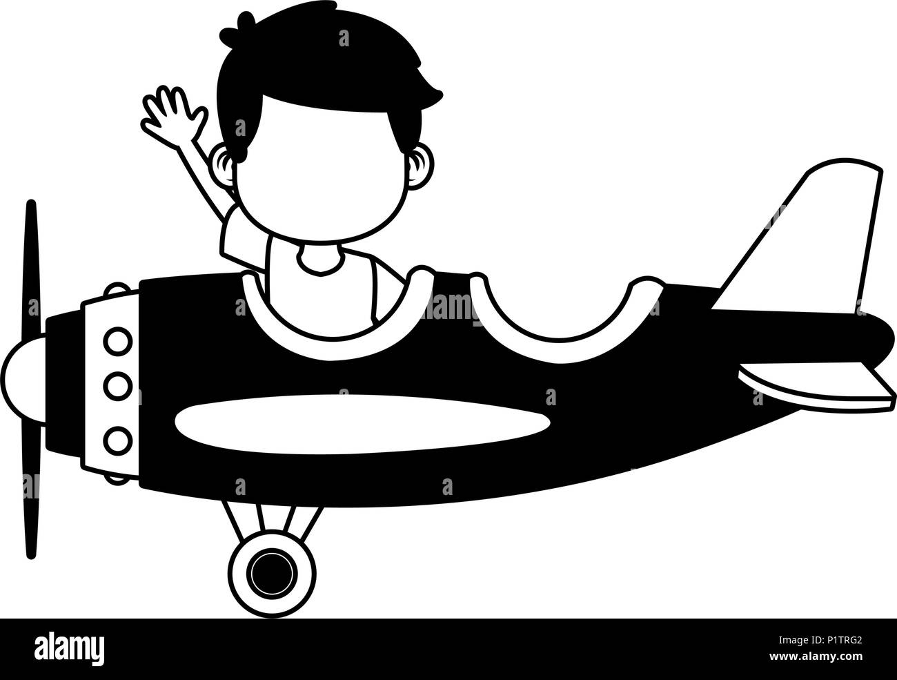 Cute boy flying in airplane in black and white - Stock Image