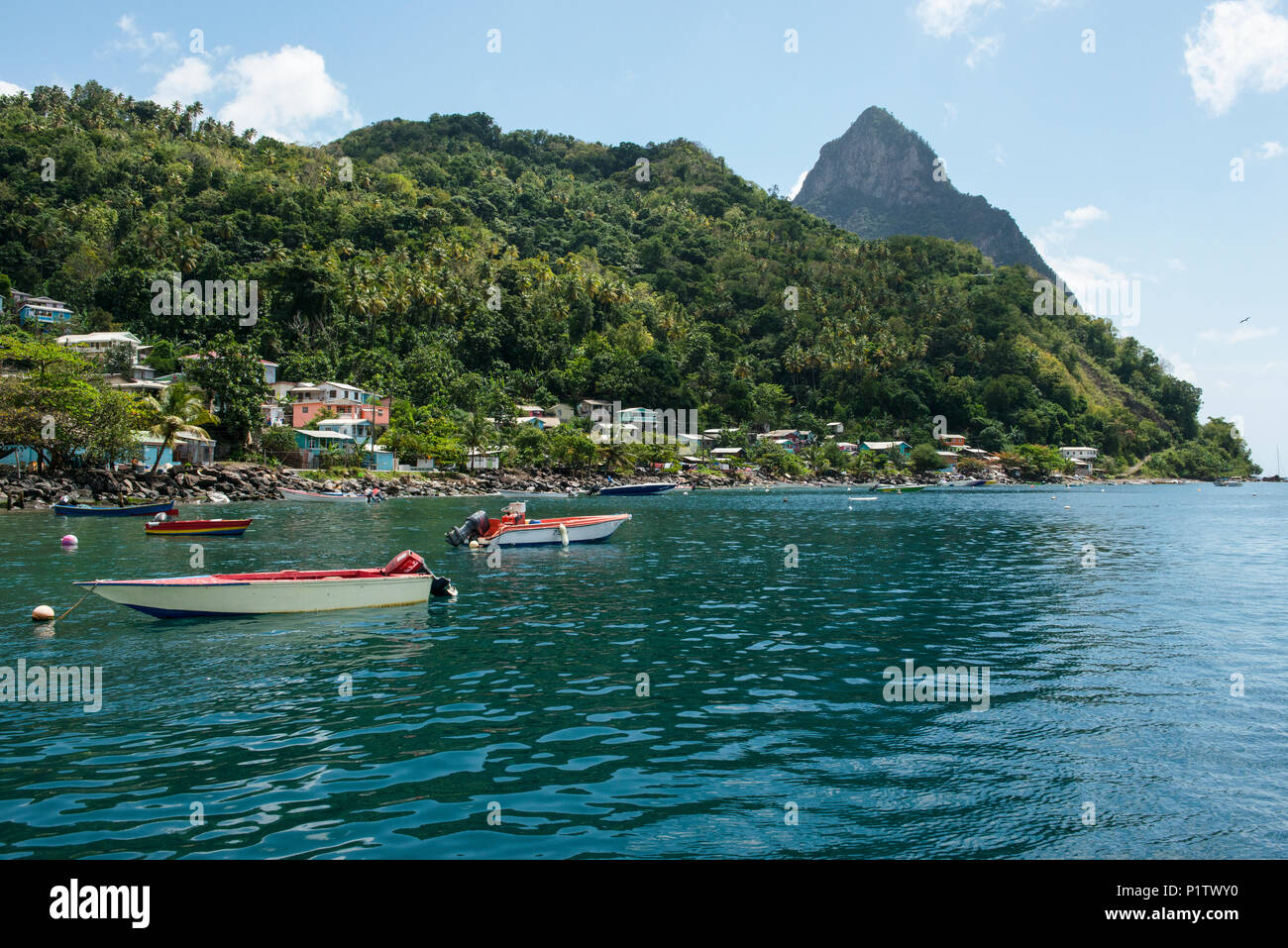 St Lucia Caribbean Sea: St Lucia Pitons Stock Photos & St Lucia Pitons Stock