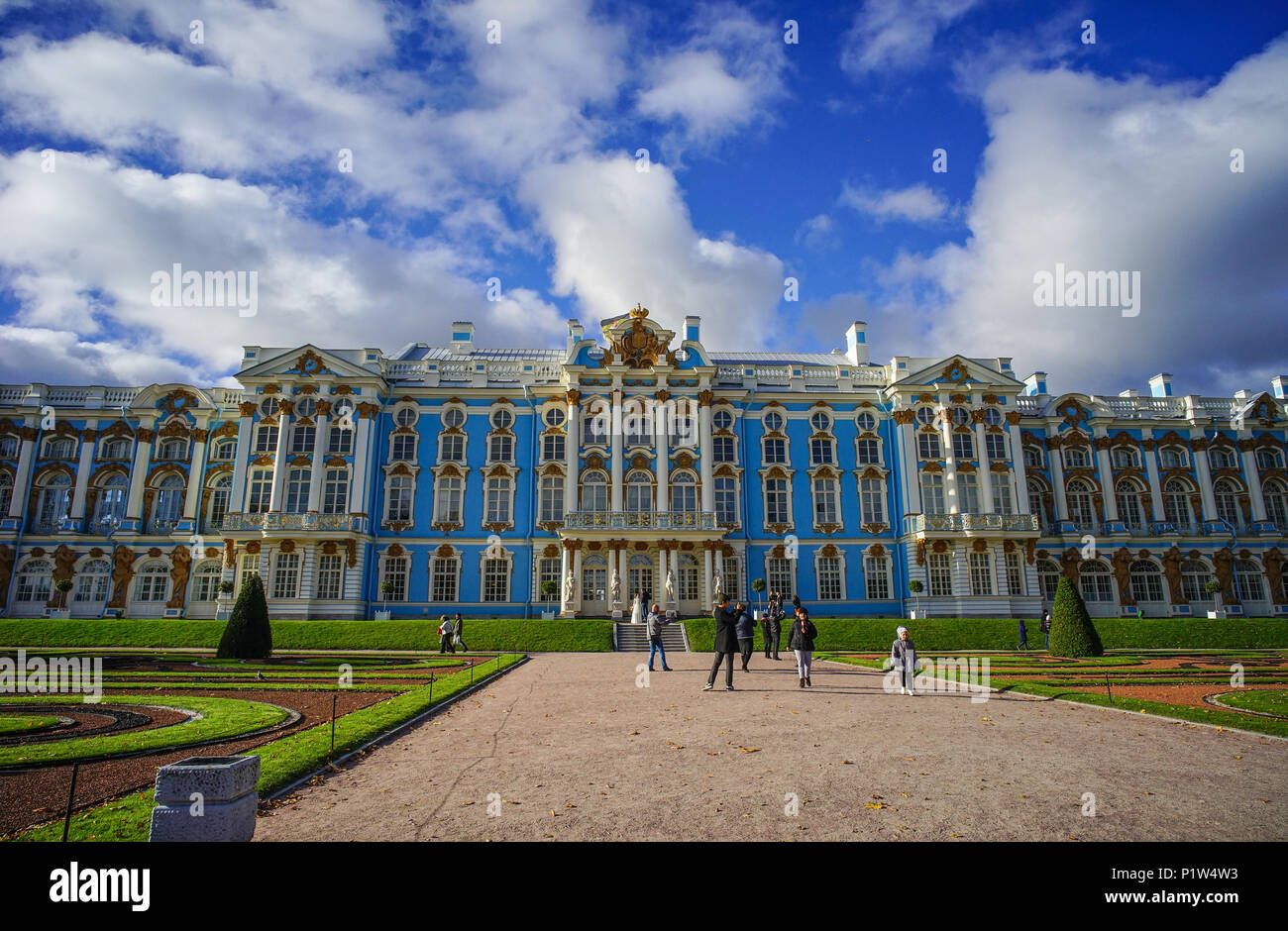 St. Petersburg, Russia - Oct 7, 2016. View of Catherine Palace in St. Petersburg, Russia. It known until 1910 as the Great Palace of Tsarskoye Selo. - Stock Image