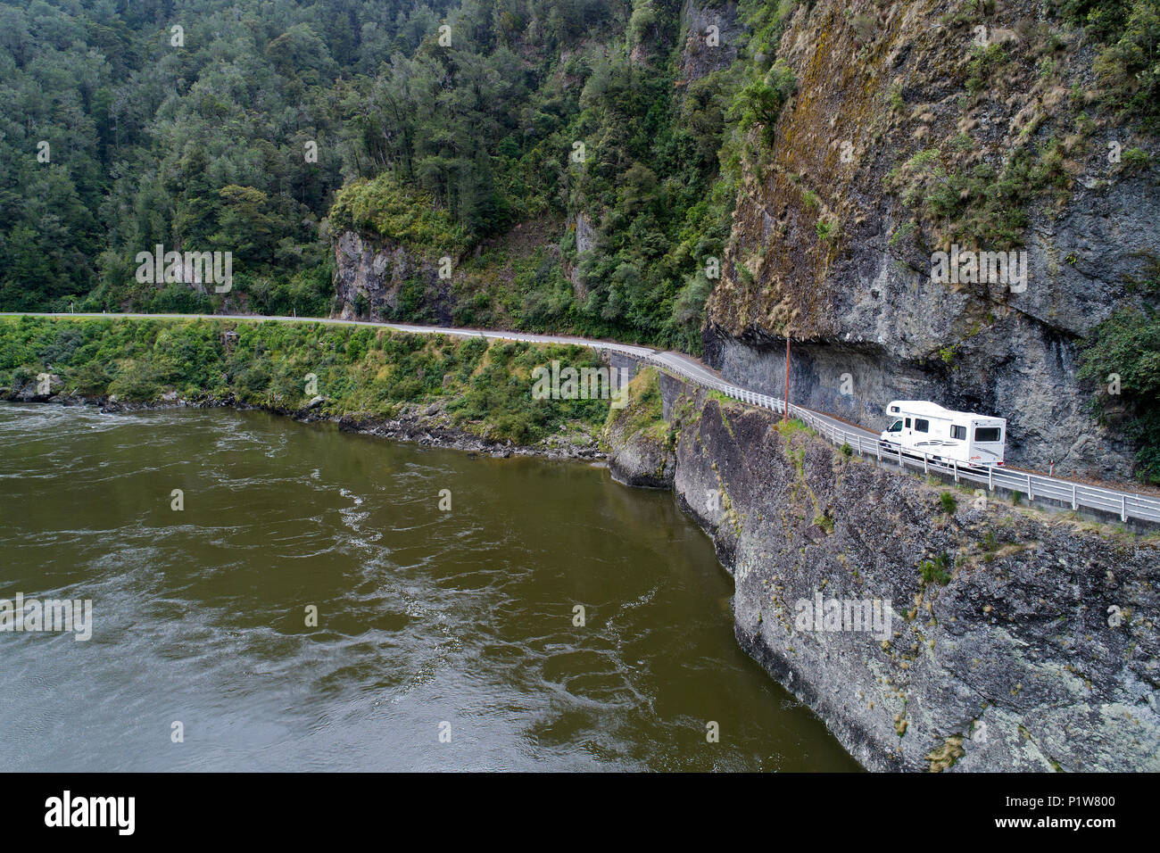 Campervan at Hawks Crag, and Buller River, Buller Gorge, State Highway 6 near Westport, West Coast, South Island, New Zealand - drone aerial - Stock Image